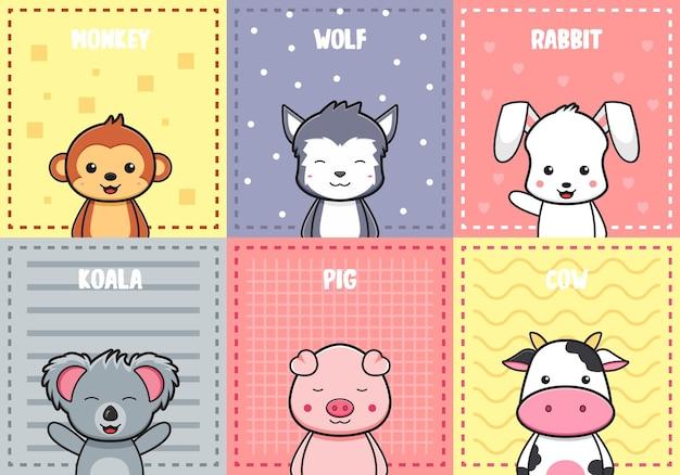 Śliczny zwierzęcy plakat kartka doodle tło tapeta ilustracja kreskówka płaski styl kreskówek