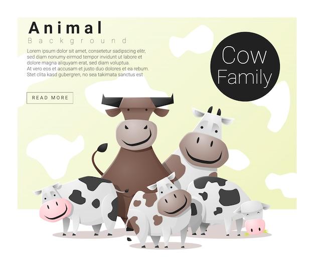 Śliczny zwierzęcy rodzinny tło z krowami