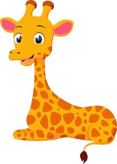 Śliczny żyrafy kreskówki obsiadanie