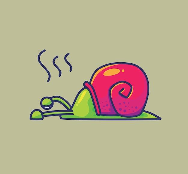Ślimak kreskówka zmęczony stres depresja sfrustrowany zwierzęca płaska ilustracja w stylu kreskówki