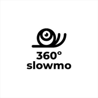 Ślimak maskotka 360 w zwolnionym tempie logo kamery
