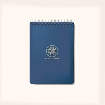 Ślimakowaty błękitny notatnika mockup odizolowywający wektor