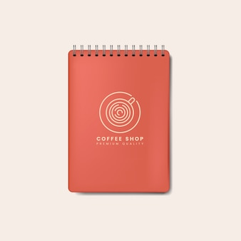 Ślimakowaty czerwony notatnika mockup odizolowywający wektor