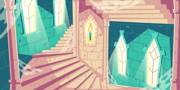 Ślimakowaty schody w kasztelu wierza kreskówki ilustraci