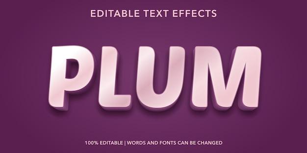 Śliwka edytowalny efekt tekstowy