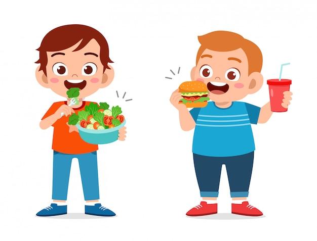 Słodcy chłopcy zdrowi niezdrowy zestaw