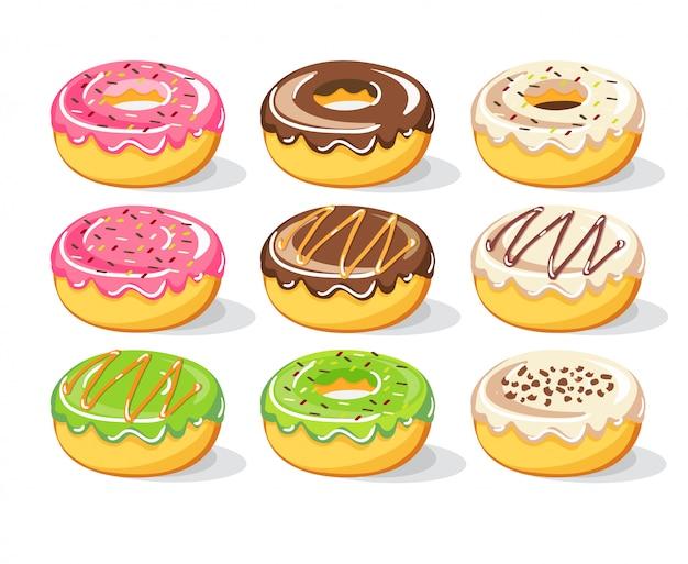 Słodcy donuts ustawiają kolekcję, ilustracja