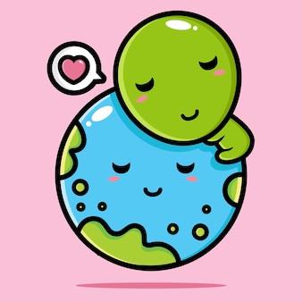 Słodcy kosmici przytulają się do ziemi pełnej miłości