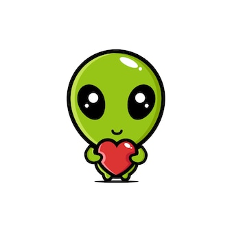 Słodcy kosmici przytulający miłosne serca