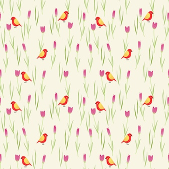 Słodcy kwiaty i malutki ptasi bezszwowy wzór.
