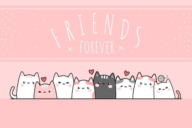Słodcy przyjaciele kotów na zawsze kreskówka doodle tapeta z kartą