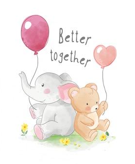 Słodcy przyjaciele zwierząt z ilustracji balon