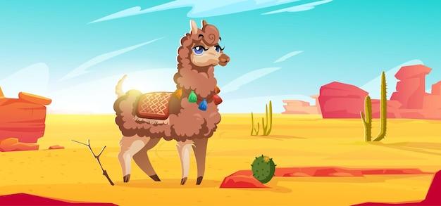 Słodka alpaka na meksykańskiej pustyni z czerwonymi górami, piaskiem i kaktusami, ilustracja kreskówka wektor...