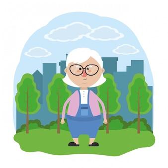 Słodka babcia kreskówka