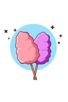 Słodka bawełniana ilustracja kreskówka jedzenie cukru