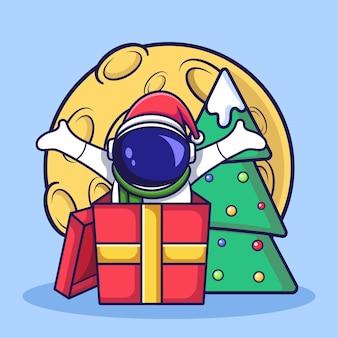 Słodka bożonarodzeniowa postać astronauty zaskakuje z pudełka. ilustracja kreskówka płaski.