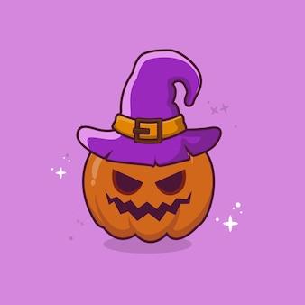 Słodka czarownica dynia halloweenowa kreskówka wektor