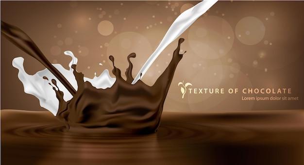 Słodka czekolada czekoladowa wpadająca do mleka z plamami