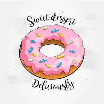 Słodka deserowa wektorowa ilustracja