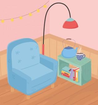 Słodka domowa lampa fotelowa do kawy, filiżanki, lampki do herbaty i drewniana podłoga