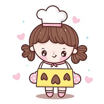 Słodka dziewczyna kucharz kreskówka piec ciasteczka serca w stylu kawaii