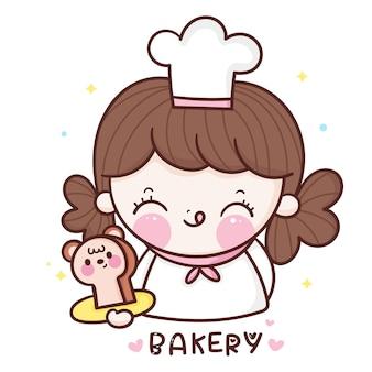 Słodka dziewczyna kucharz kreskówka trzyma niedźwiedź chleb piekarnia styl kawaii