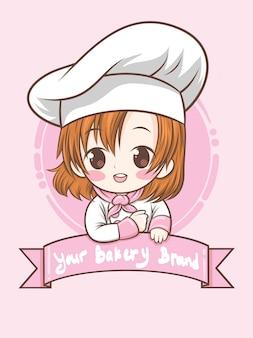 Słodka dziewczyna kucharz piekarni - ilustracja kreskówka (logo maskotki)