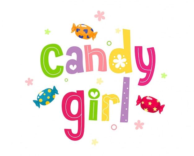 Slodka dziewczyna. odręcznie napis kreskówka ze słodyczami. ilustracja na białym tle