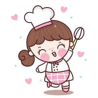 Słodka dziewczyna szefa kuchni kreskówka pozdrowienie miłość piec w stylu kawaii