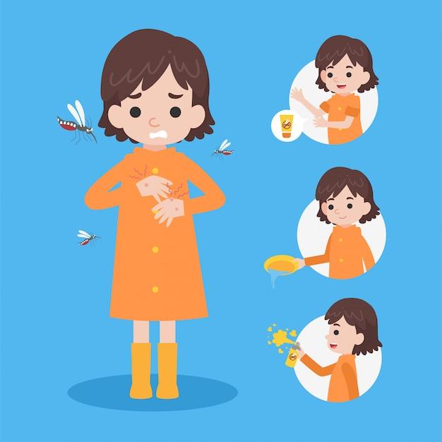Słodka dziewczyna w płaszczu przeciwdeszczowym ma gorączkę denga od pęcherzyków komara