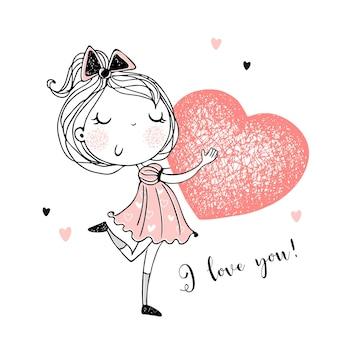 Słodka dziewczyna z wielkim sercem w dłoniach. jesteś moją walentynką. wektor.