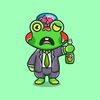 Słodka halloweenowa żaba zombie niosąca butelkę z oczami