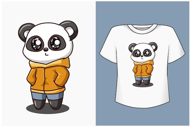 Słodka i fajna ilustracja kreskówka panda