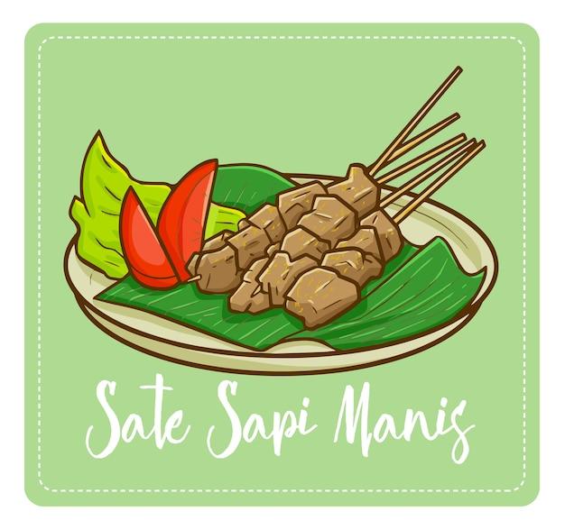"""Słodka i pyszna sweet beef satay, czyli """"sate sapi manis"""" w bahasa indonesia. tradycyjne jedzenie z indonezji. bardzo znana i pyszna."""