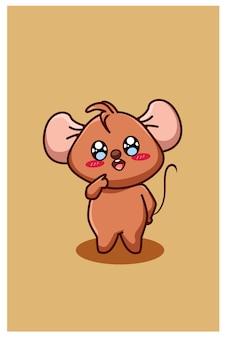 Słodka i zabawna mysz dla dzieci, ilustracja kreskówka zwierząt