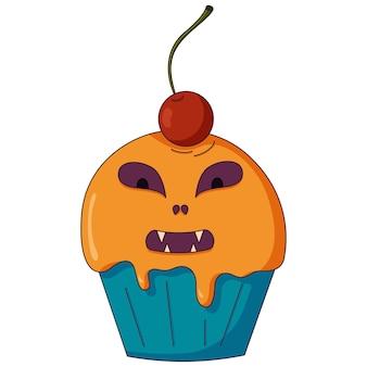 Słodka ikona w płaskim stylu na imprezę z okazji halloween lub święto dziękczynienia