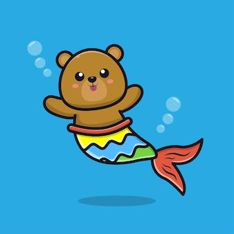 Słodka ilustracja kreskówka niedźwiedź syrenka