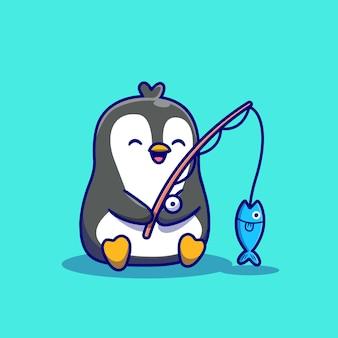 Słodka ilustracja kreskówka połowów pingwina