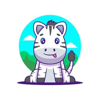 Słodka ilustracja kreskówka zebry