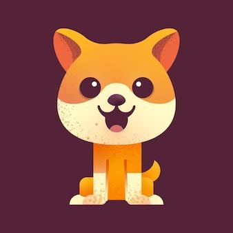 Słodka ilustracja kreskówki pies shiba inu