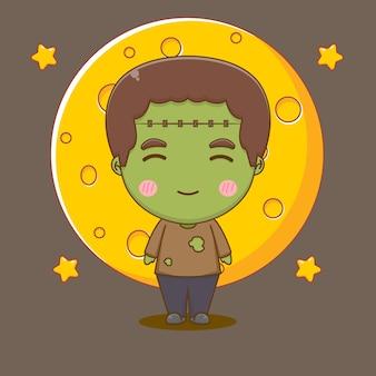 Słodka ilustracja postaci zombie frankensteina chibi