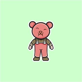 Słodka ilustracja rolnika niedźwiedzia w stylu kreskówki
