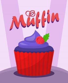 Słodka jagoda muffin kreskówka wektor ilustracja