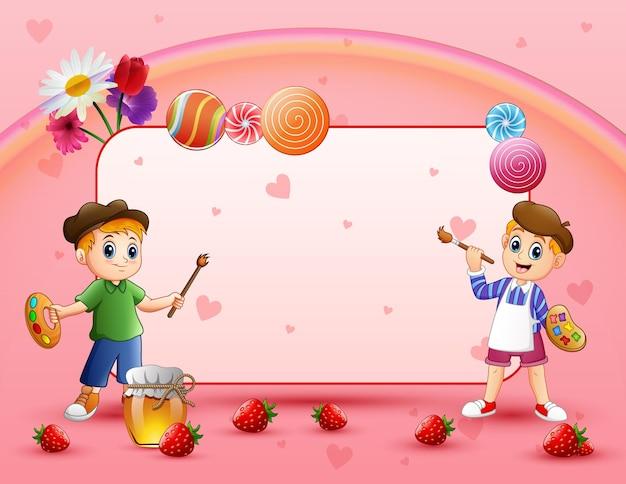 Słodka karta z dwoma obrazami chłopca i różowym tłem