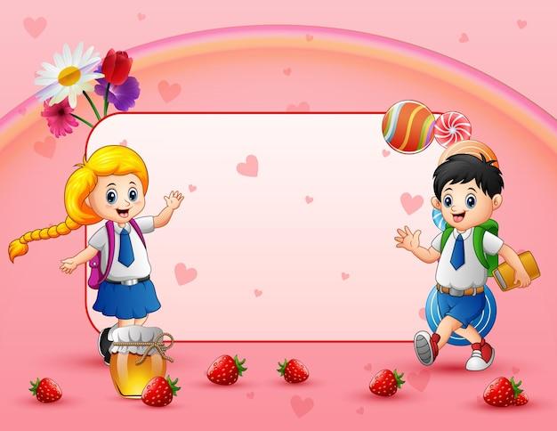 Słodka karta z szczęśliwymi dziećmi w wieku szkolnym w mundurze