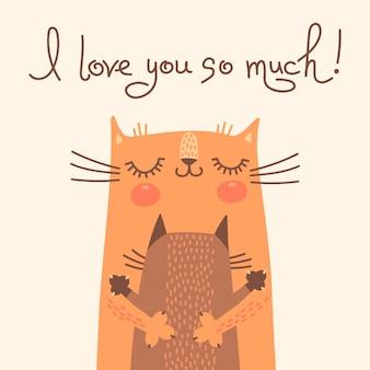 Słodka kartka na dzień matki z kotami.