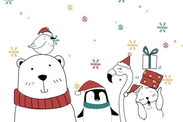 Słodka kartka świąteczna zwierząt niedźwiedzia polarnego