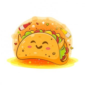 Słodka kawaii kreskówkowa kanapka