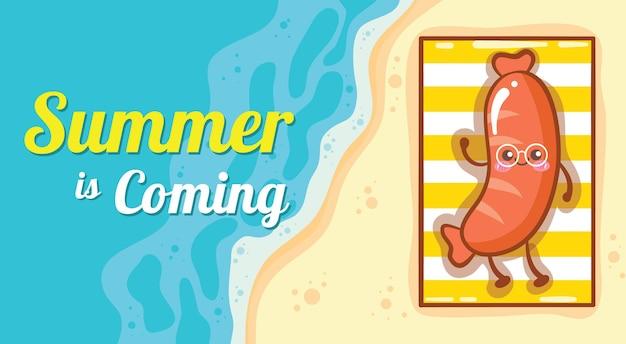 Słodka kiełbasa relaksująca się na plaży z letnim banerem powitalnym
