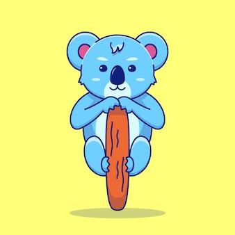 Słodka koala chłodzi na drzewie kreskówka wektor ikona ilustracja